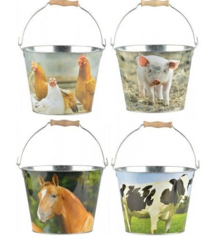 Sturdy bucket with farmyard animal picture. Kids in the garden