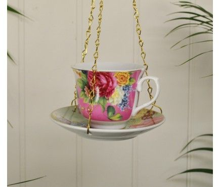 Ceramic chintz teacup and saucer bird feeder with hanging chain. Available in different colours