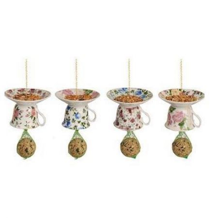 Upside down teacup and saucer wild bird feeder.[Pink and yellow]