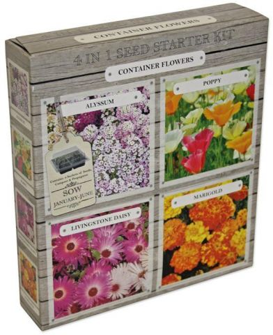 4 in 1 Seed Starter Kit for Poppies, Marigold, Livingstone Daisy & Alyssum.  Includes propagator