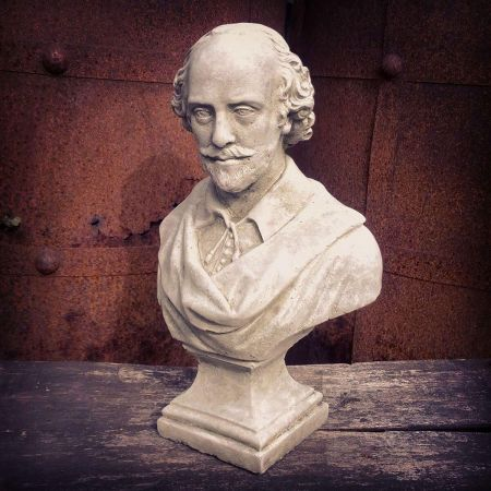 Shakespeare Bust Garden Ornament. Reconstituted stone