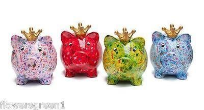 Pomme-Pidou ceramic Birthday Pig Piggy Bank. Brightly coloured, very collectable Blue x1