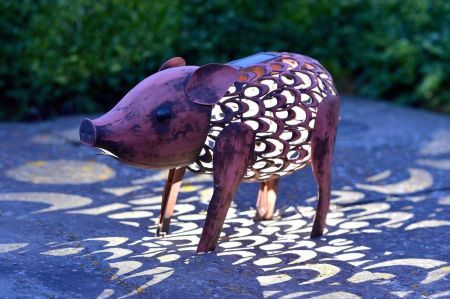 Solar Filigree Metal Pig Garden Ornament