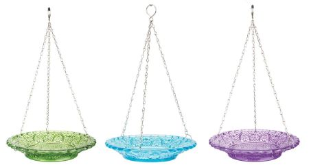 Hobnail Glass Bird Feeder With Dish and Hanger. Blue
