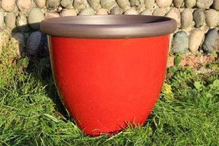 Belair Plant Pot with Removable Reservoir  40cm Diameter Pillar Box Red