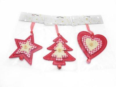 Nordic style felt hanging tree decorations x 3. Tree star and heart with bell