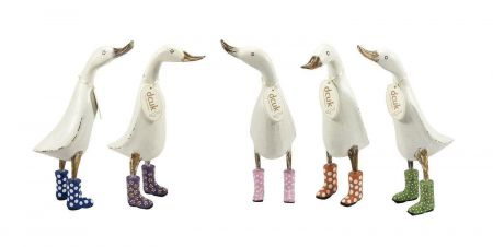 Antiqued white duck wearing  wellies from DCUK. GREEN