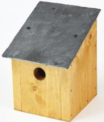 Slate roof wild bird nest box with a slate roof. 32mm hole.