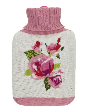 Fragranced Hot Water Bottle with Knitted Cover ROSES