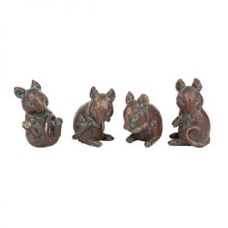Set of four Mice. Ornaments, suitable for outside.  Bronze effect LO7512076