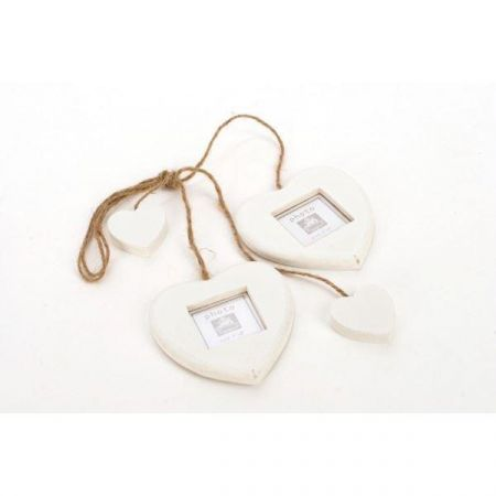 Contemporary White Painted Wooden Heart Frame Hanger