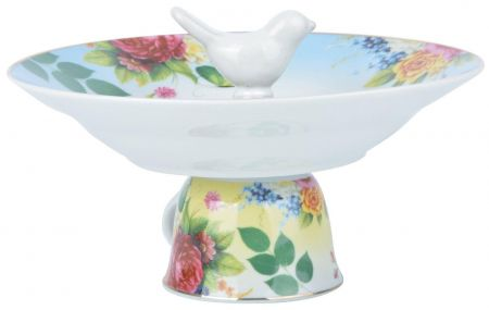 Teacup Bird Bath feeding dish in blue.  Gift Boxed