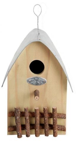 Attractive Nest Box with Zinc Roof and Picket Fence. Green