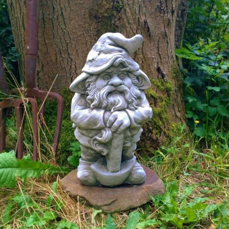 Axe Gnome Garden Ornament. Reconstituted stone. Superb Details.GN2
