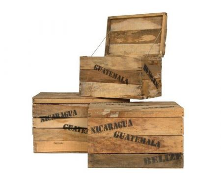 Wooden Storage Crate Boxes with Hinged Lids. Set of 3.