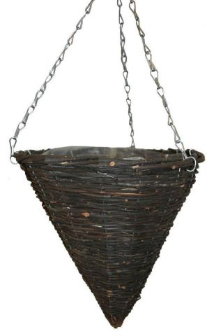 """12"""" Hanging Cone Planter with Made from Black Rattan. Great Value"""