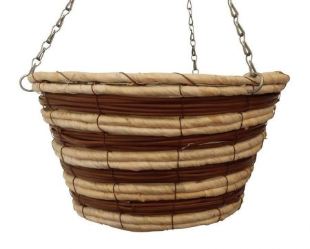 """12"""" Hanging Basket with Straight Sides and Stripe Effect."""