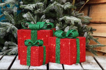 Tinsel Wrapped Presents with 35 LED Lights - Set of 3. 15, 20 & 25cm