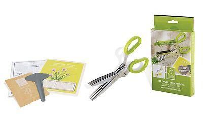 Herb scissors set includes chive seeds and metal plant marker