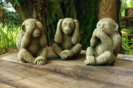 Set of 3 Reconstituted Stone Monkey Garden Ornaments. See no evil, hear no evil, speak no evil AN4