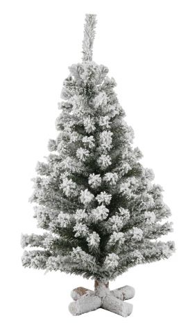Table Top Frosted Christmas Tree with wooden base 35cm tall