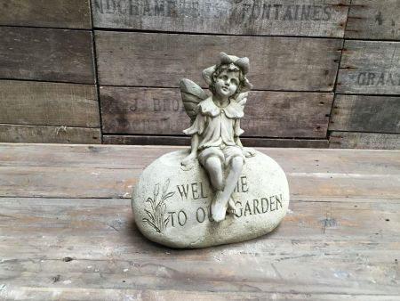 Welcome Fairy Statue Made from Reconstituted Stone