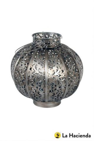 Moroccan Globe Lantern in Burnished Silver Steel. 2 Sizes to choose from
