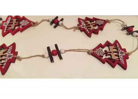 Wooden Carved Trees Garland with Woodland Reindeer Scene 100cm long