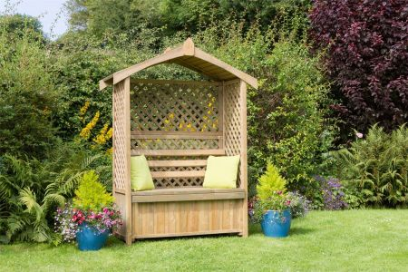Wooden Garden Lincoln Arbour with Storage Box