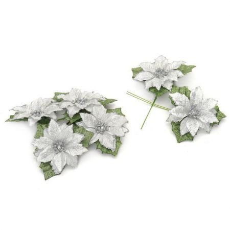 Pack of 6 Glitter Poinsettia Picks. Great for wreath making SILVER