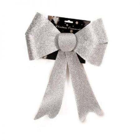 XL Outdoor Festive Glitter Bow. Alternative for Wreath. 28 x 36cm Silver