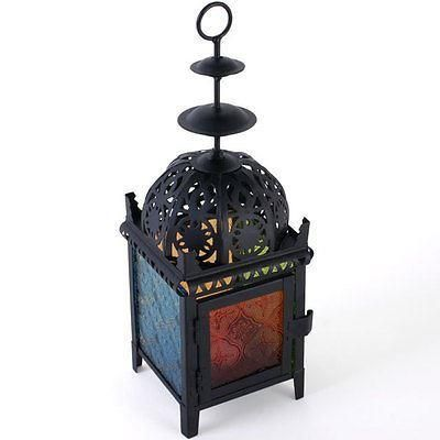 Moroccan Style Black Lantern with Disc Top and Coloured Glass.  28cm tall.