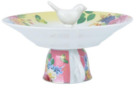 Teacup Bird Bath or Feeding dish in yellow.  Gift Boxed
