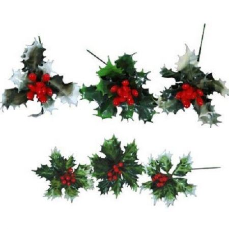 Large Holly and berry Christmas picks x 6.  Plastic.  Large size. Great for wreaths