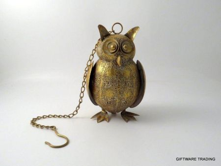 Gold Owl Filigree Lantern Tealight Holder with Chain to Hand