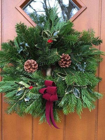 Fresh Christmas Wreath with Pinecones & Burgundy Bow. 50cm Diameter