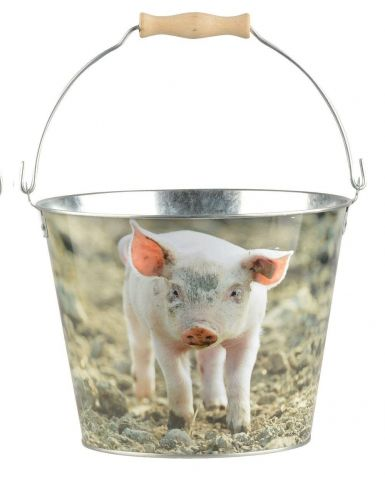 Bucket with Piglet Design made from Zinc with Wooden Handle
