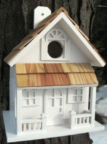Wild Bird Nesting Box/Birdhouse Country Cottage Design in White