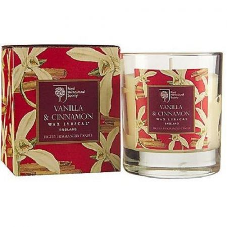 Royal Horticultural Society Vanilla & Cinnamon Scented Candle. Gift Boxed