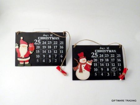Santa Wooden Chalk Board Advent Calendar