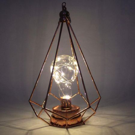 Copper Table Light.  Geometric Design.  Battery Operated