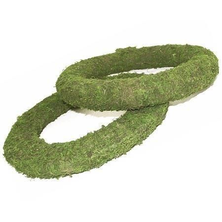 "14"" Mossed padded wreath rings with integral wire x 2.  Very easy to use - 14"""