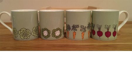 Set of Four Fine Bone China Mugs in Crate from Wiggles and Florence. Veg patch