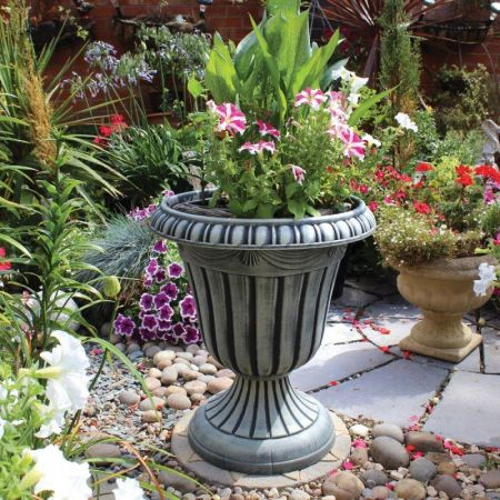 Tall Urn Planter in Classical Vintage Stone Finish.