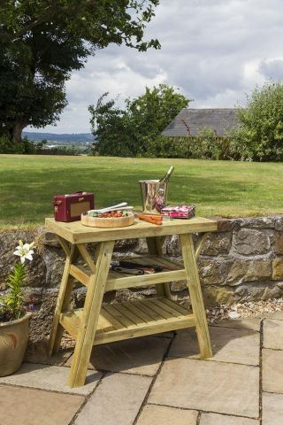Wooden Garden BBQ Side Table