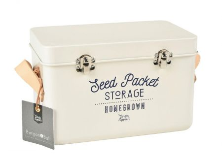 Leather Handled Seed Packet Storage Tin from Burgon & Ball STONE colour