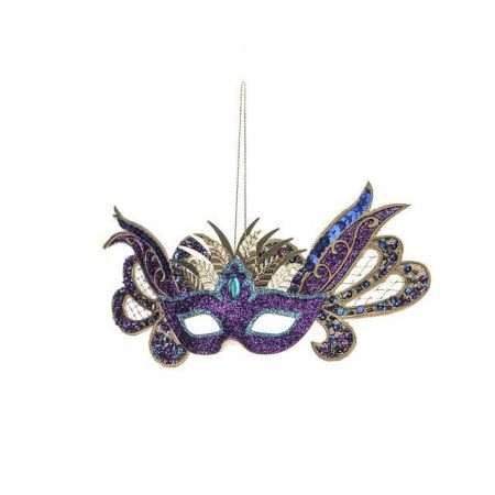 Carnival Mask Christmas Hanging Decoration with Sequins in Purple & Gold