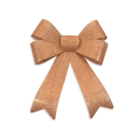 XL Outdoor Festive Glitter Bow. Alternative for Wreath. 28 x 36cm.  Copper