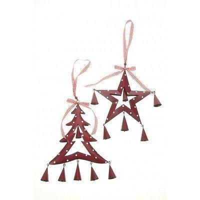 Metal red decorations with bells. Nordic style[Tree]