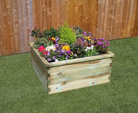 Wooden Garden Sleeper Raised Bed - W.90mxD.90mxH.45m